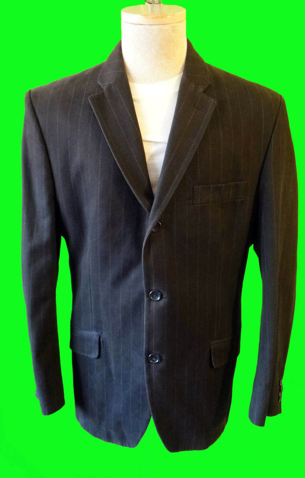 Banana Republic Chocolate Braun pinstripe  Cotton sport blazer 44s casual 3 butt