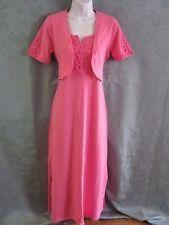 Denim & Co Long Dress Size XS Pink Lace-Trimmed Stretch Cotton Matching Shrug