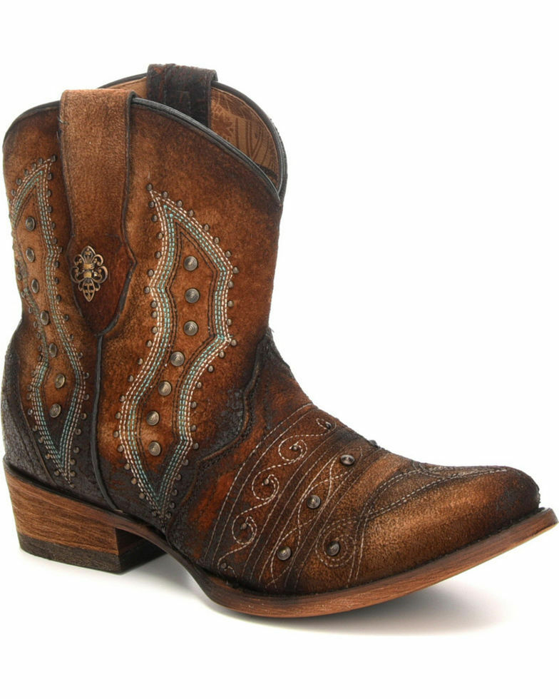 Corral Women's Exotic Embroidery Studs Ankle Round Toe Western Boots C3371 NIB