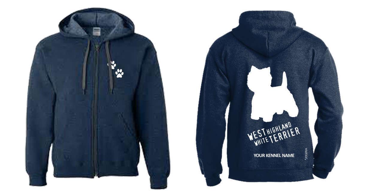 West Highland White Terrier Full Zipped Dog Breed Hoodie, Dogeria Design,