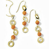 14k Italian Yellow Gold & Coral Pendant, 18 Chain & Wire Earrings Set