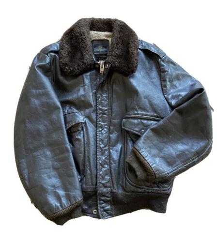 VTG Cooper Leather Jacket Size 44 Bomber Flight Mo