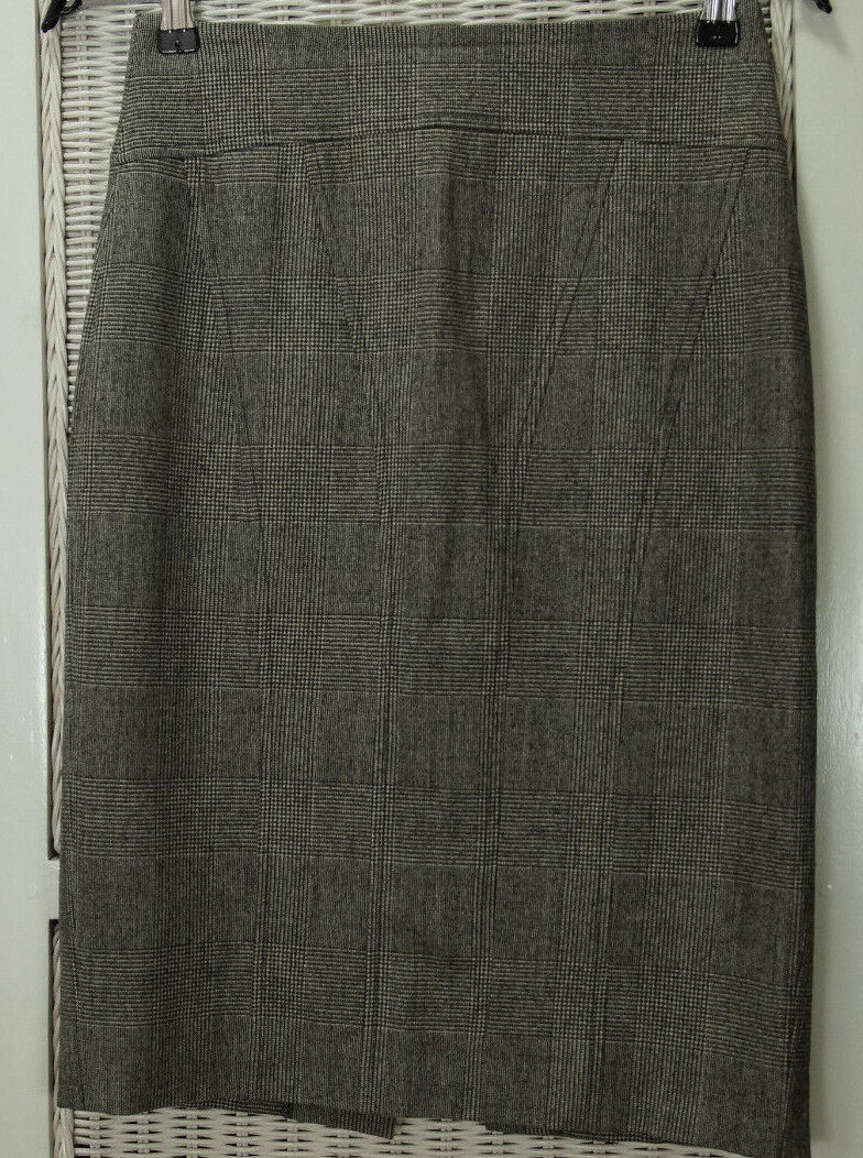 JOSEPH Houndstooth Pencil Skirt EU36 S 26″W B&W Wool Check Classic Office Wear