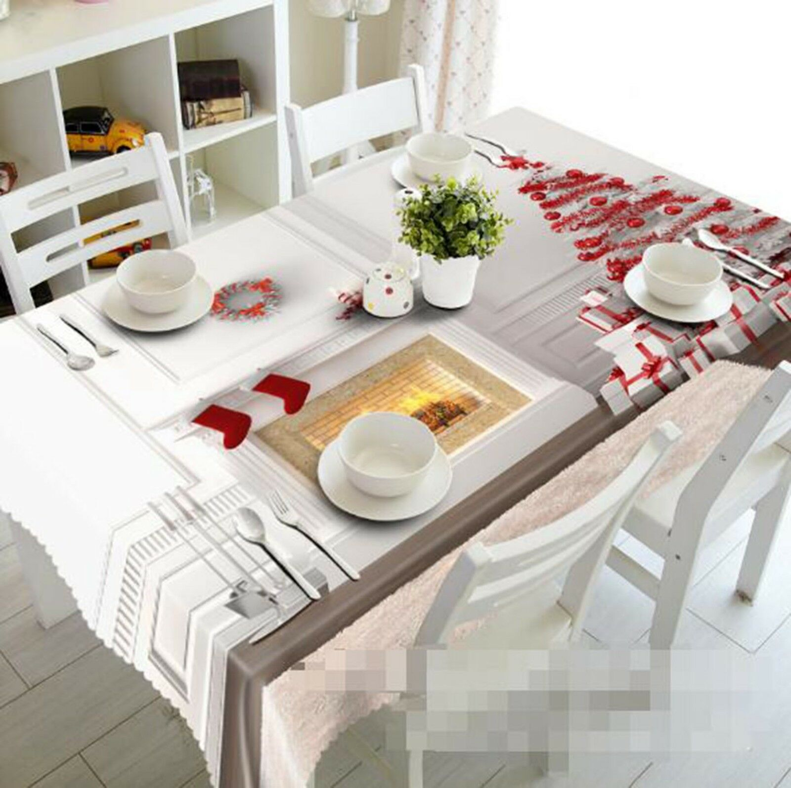 3D Fireplace 022 Tablecloth Table Cover Cloth Birthday Party Event AJ Lemon