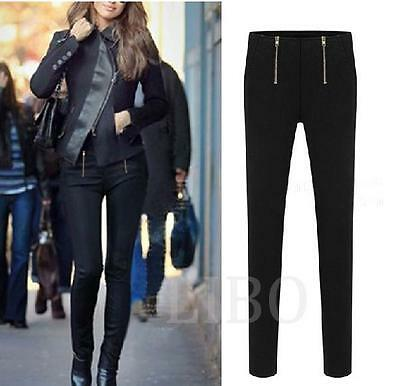 Women Sexy Fashion European Zipper Pencil Pants Slim Stretch Leggings Trousers