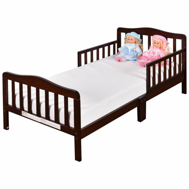 Baby Toddler Bed Kids Children Wood Bedroom Furniture W Safety Rails Espresso