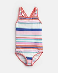 Joules Girls Briony Cross Back Swimsuit  - PINK MULTI STRIPE