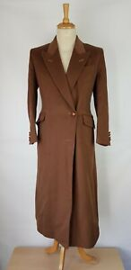 B1 Womens Austin Reed Vintage Brown Wool Blend Long Overcoat Uk 12 Ebay