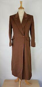 B1 Womens Austin Reed Vintage Brown Wool Blend Long Overcoat Uk 12 Ebay
