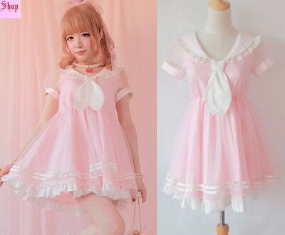 Girls Princess Dolly Lolita Kawaii Party Sweet crew neck Dress + Tie S~L Pink