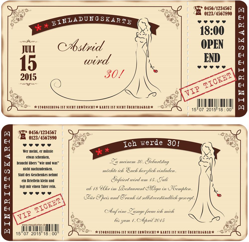 Einladungskarten zum Geburtstag für Frauen mit Abriss-Coupon im Vintage Look | Für Ihre Wahl  | Abrechnungspreis
