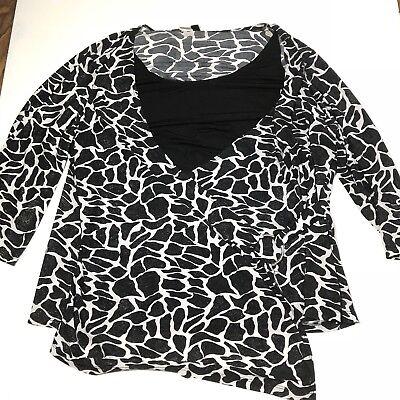 Yours Clothing Women/'s Plus Size Black /& White Animal Print Shirt