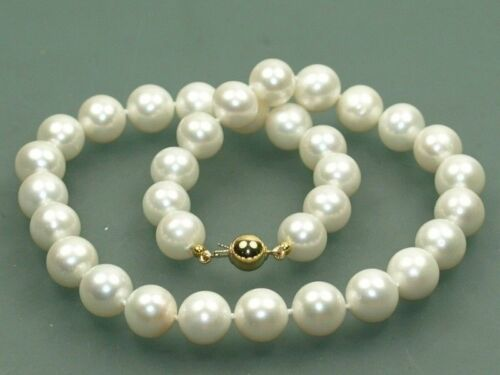 """Fashion belle 9-10 mm blanc eau douce ronde Perles Collier 18/"""" AAA"""