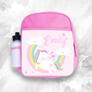 Personalised Kids Backpack Any Name Unicorn Girl Childrens Back To School Bag