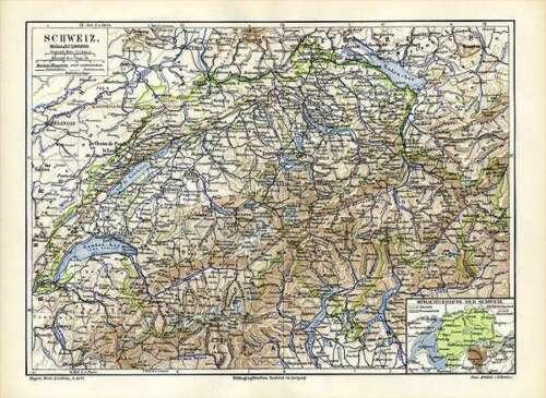 Schweiz Bern Sprachgebiete Land Gewässer Klima Kurorte Original Karte von 1892