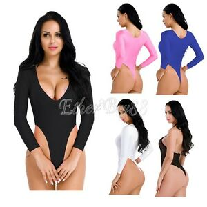 9bee200c8 Image is loading Womens-Bodysuit-Lingerie-High-Cut-Crotchless-Thong-Leotard-