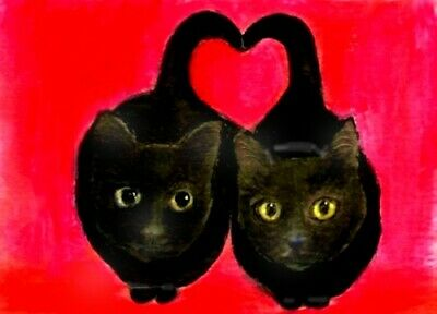 BCB Black Cat Love Valentine Print of Painting ACEO