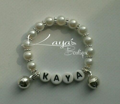 Baby reborn pearl jingly bracelet wrist rattle wedding party gift personalised