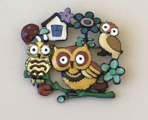 Unique-artistic-three-Owls-Brooch-enamel-on-metal