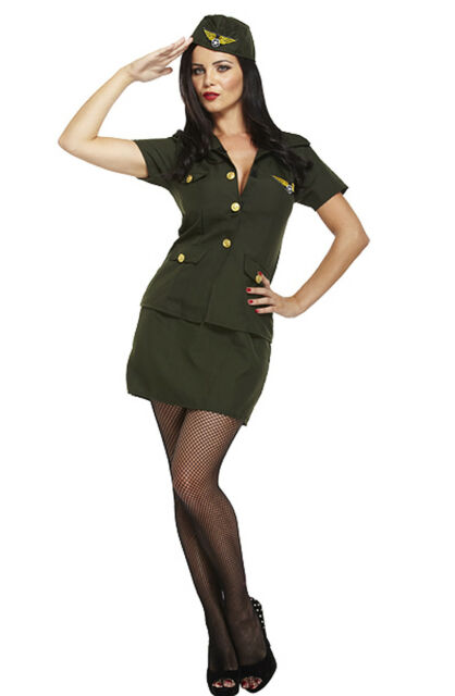 6/8/10 Sexy Army Girl Soldier Uniform Costume Hat 40s Ladies Fancy Dress  sc 1 st  eBay & Womens Army Fancy Dress Costume Green Pilot Uniform Skirt Top Hat ...