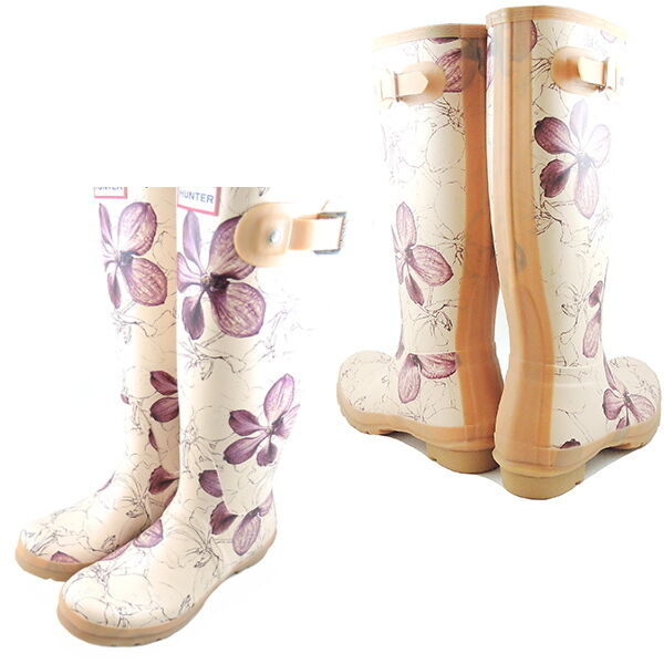 Hunter Limited Royal Horticultural Society Rubber Rain Garden Boots Biscuit Cute