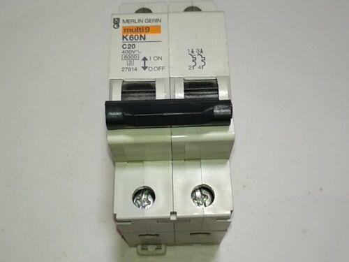 MAGNETOTERMICO  K60N 2 POLOS C20 20 A MERLIN GERIN 27914  CIRCUIT BREAKER