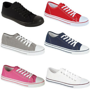 LADIES-CANVAS-TRAINER-LACE-UP-SPORTS-CASUAL-PUMPS-WOMENS-SHOES-UK-3-4-5-6-7-8