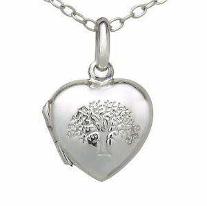 Stamped-925-Sterling-Silver-Tree-Of-Life-Heart-Love-Locket-Pendant-Necklace-SM
