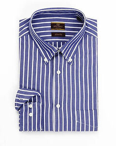 743aefaf2aa6 Alfa Perry Slim Fit Blue Striped Button-Down Collar Cotton Oxford ...