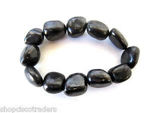 Shungite-15mm-Nugget-Stretch-Bracelet-Qty-Russia-Reiki-Healing-Crystal-Jewelry