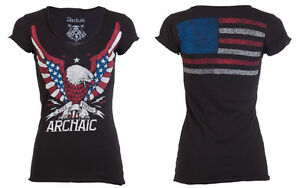 Archaic-AFFLICTION-Womens-T-Shirt-FLY-FREE-Biker-USA-FLAG-Sinful-UFC-S-XL-40-a