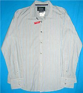 Mens-JUST-JEANS-blue-grey-cotton-shirt-sz-L-NEW-bnwt