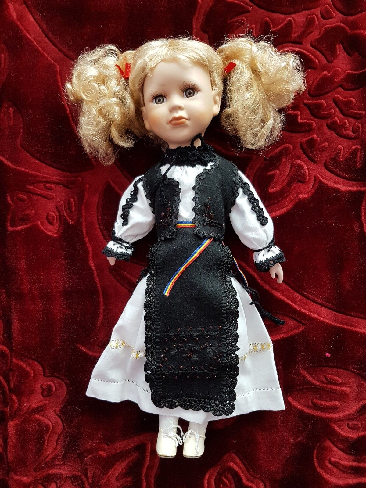 Vintage doll in Romanian traditional outfit