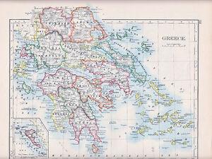 1894 VICTORIAN MAP GREECE INSET CORFU CYCLADES LARISSA ARCADIA