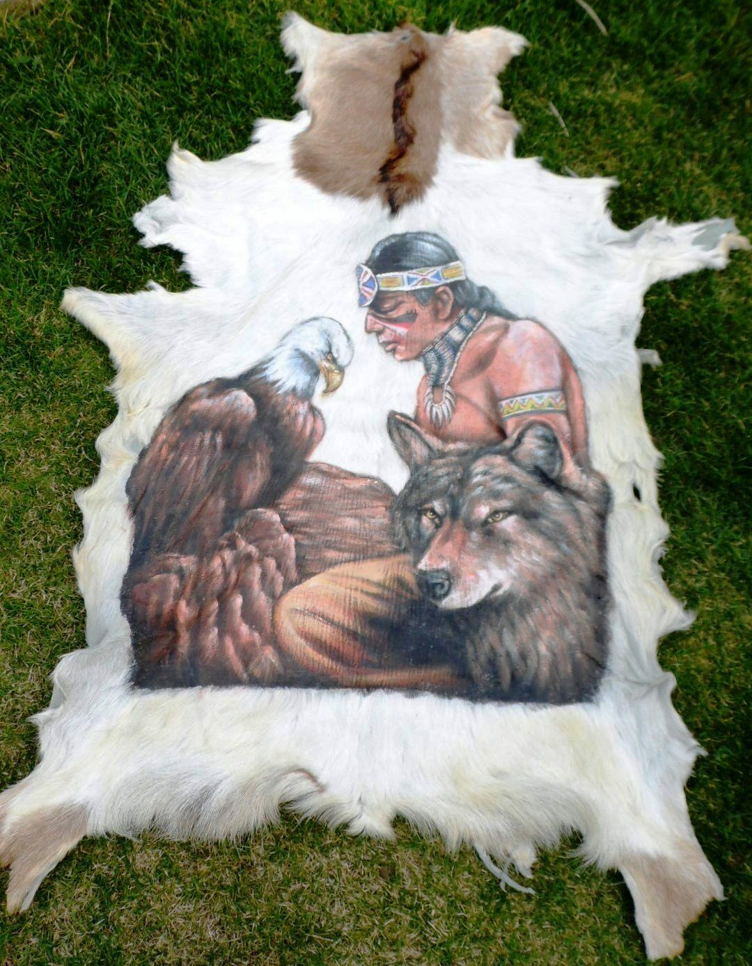 Läufer Ziegenfell  Goatskin Leather  Ziege  Tierfell bemalt  Teppich