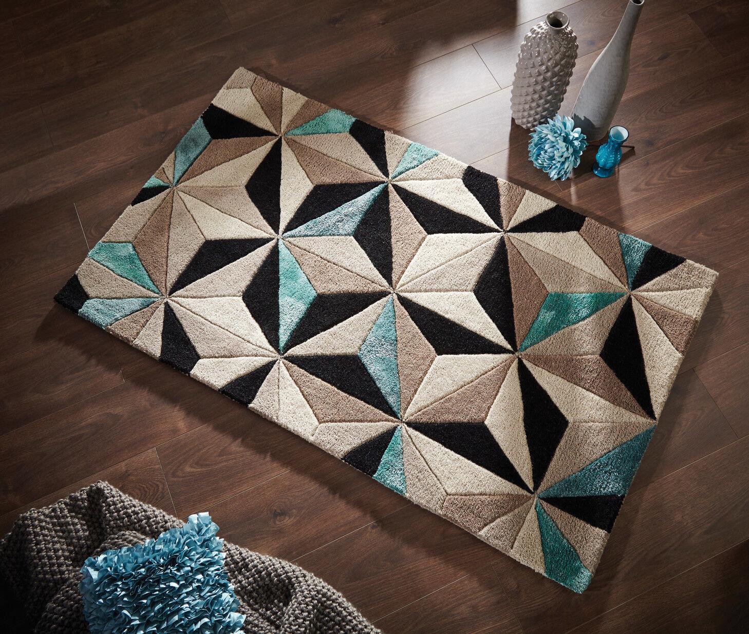 Moderne Laine Handcarved Motif géométrique Bleu Bleu Bleu Naturel épais Tapis dans 2 Tailles Tapis | Belle  832ef3
