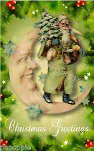 Christmas greetings fabric block old world victorian santa claus image is loading christmas greetings fabric block old world victorian santa m4hsunfo