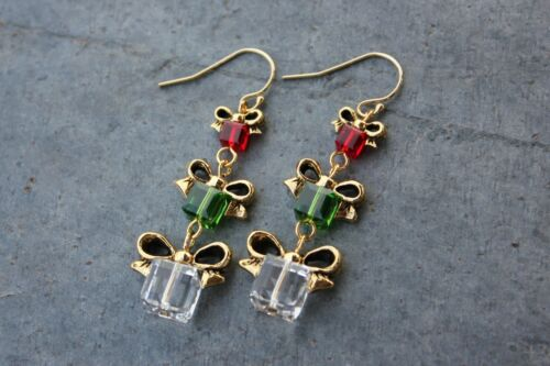 Green handmade in USA Red /& Crystal Christmas present 14k gold filled earrings