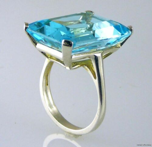 Stunning Very Large Emerald Cut Blue Topaz Ring 925 Sterling Silver 20X15 MM