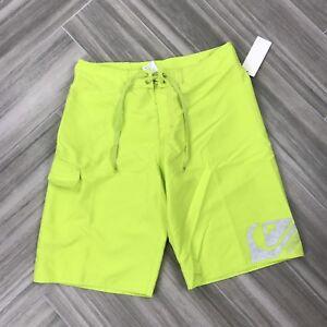 8a070edd1d Quicksilver Neon Yellow Boys Swim Boardshorts Size 30 Tie Front Knee ...
