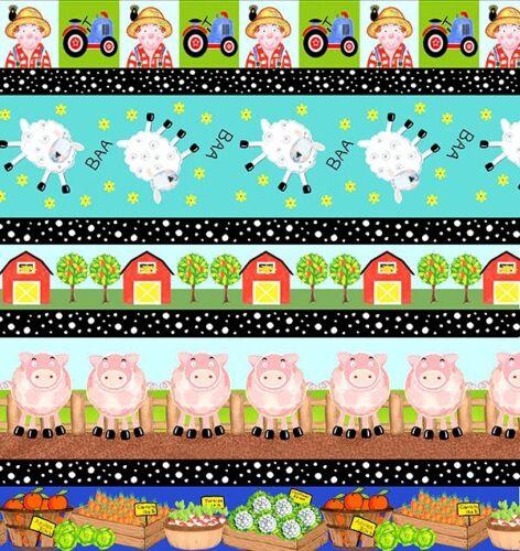 FARM Fabric Fat Quarter Cotton Craft Quilting Animals PIGS SHEEP Apple Tree Farm