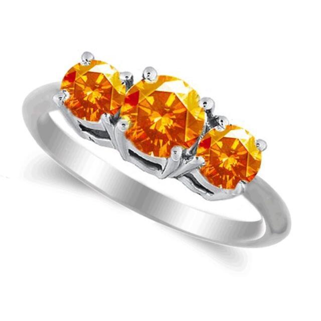 2.50 Carat Orange Sapphire Three Stone Ring in 14k White or Yellow Gold