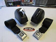68 69 70 71 72 CHEVELLE NEW BLACK DELUXE BUCKET SEAT BELTS / RETRACTORS