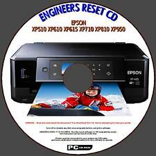 EPSON XP510 XP610 XP615 XP710 XP950 WASTE INK PAD COUNTER FIX ENGINEERS RESET CD