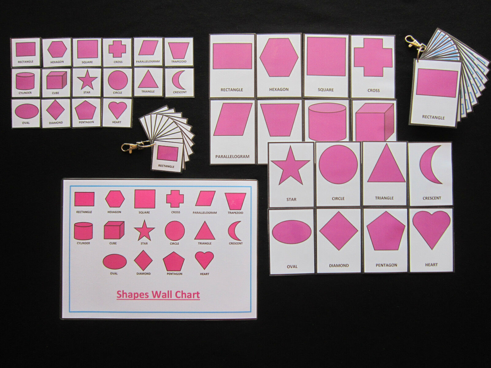 Shapes Cards Pink - PECS Autism Choice Board Dementia Speech Loss Visual Aids