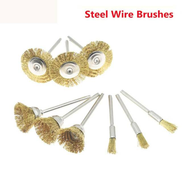 9Pcs/set Brass Wire Wheel Brush Electric Drill Grinder Rust Removing Hand Tools