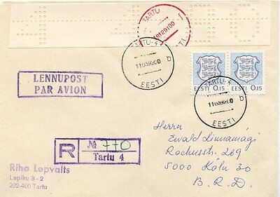 Mit Lochstreife 4,80r.weiss SchnäPpchenverkauf Zum Jahresende Europa Estland.lokalausgabe Tartu 1991.einschr.bf