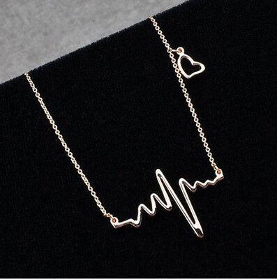 Unique Metal Chain Fashion Necklace Cute Heart Beat Korean Pendant Chain GOLD