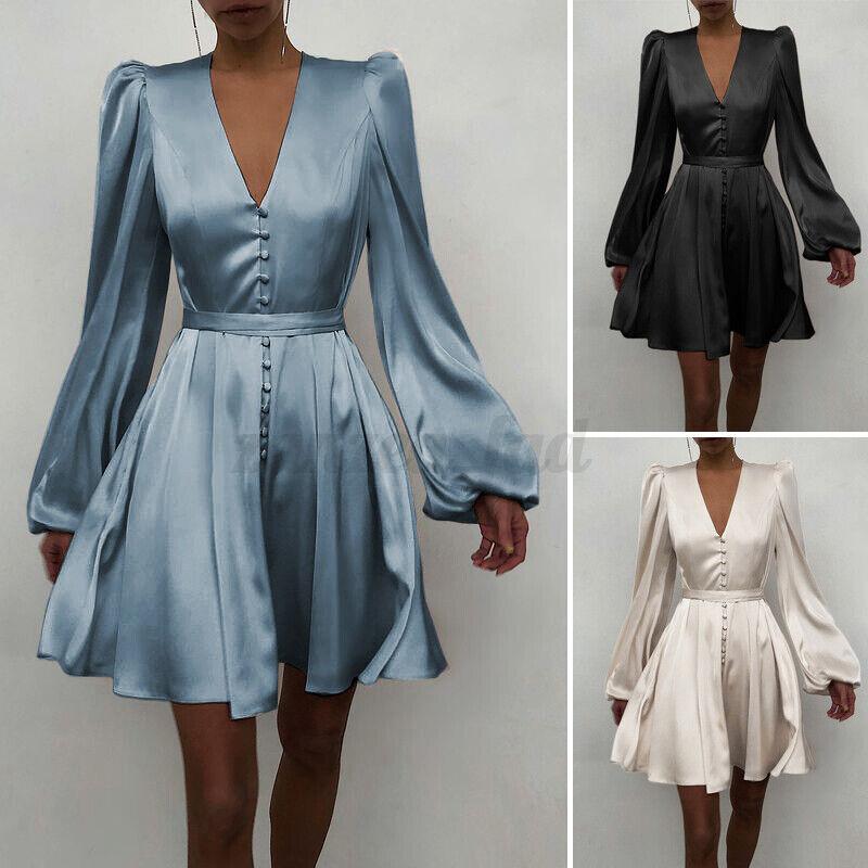 DE Damen Vintage V-Ausschnitt Longsleeve Kleider OL Office Mini A-Linie Kleid