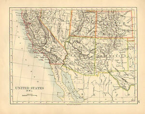 Details about 1892 VICTORIAN MAP ~ UNITED STATES SOUTH-WEST ~ ARIZONA NEW  MEXICO COLORADO UTAH